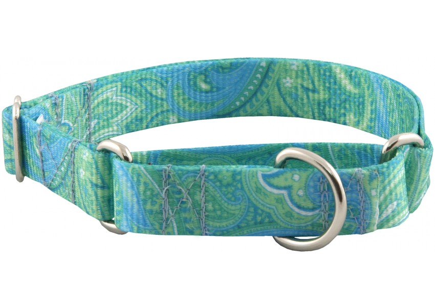 Green with blue paisley design adds a touch of beauty to a Martingale.