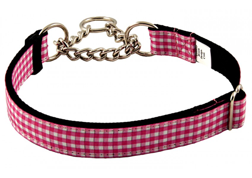 Pink and white grosgrain perfoms well to restrain dogs.